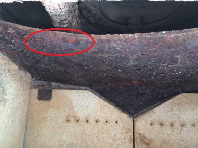 Over heating a Throat Plate Red discoloured Over-firing Fireplaces Cape Town Durbanville Islandfires Stove Maintenance